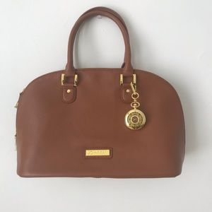 Joy & Iman • Tan Leather Large Crossbody Handbag